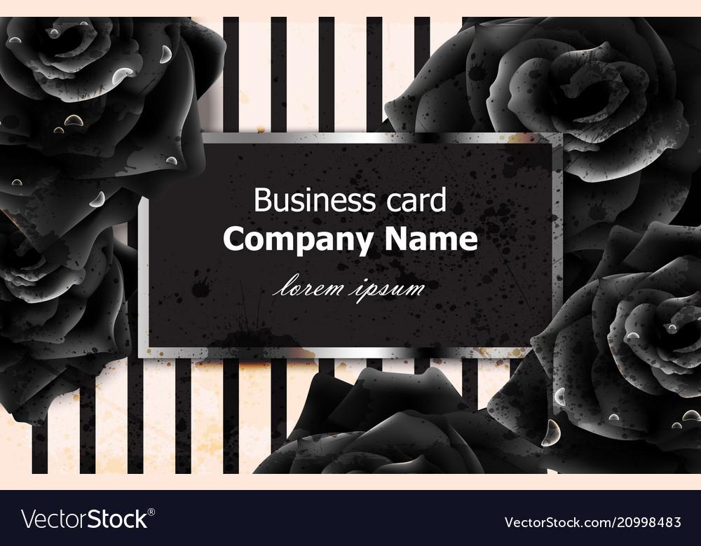 Black roses business card elegant luxury