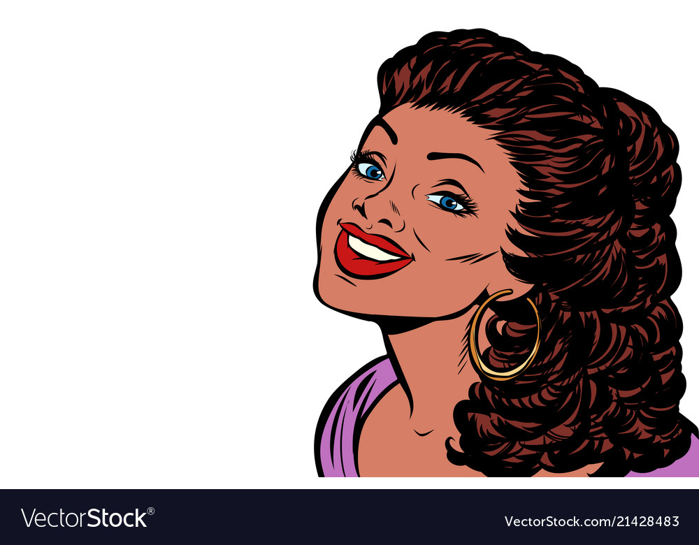 Black woman smiling isolate on white background
