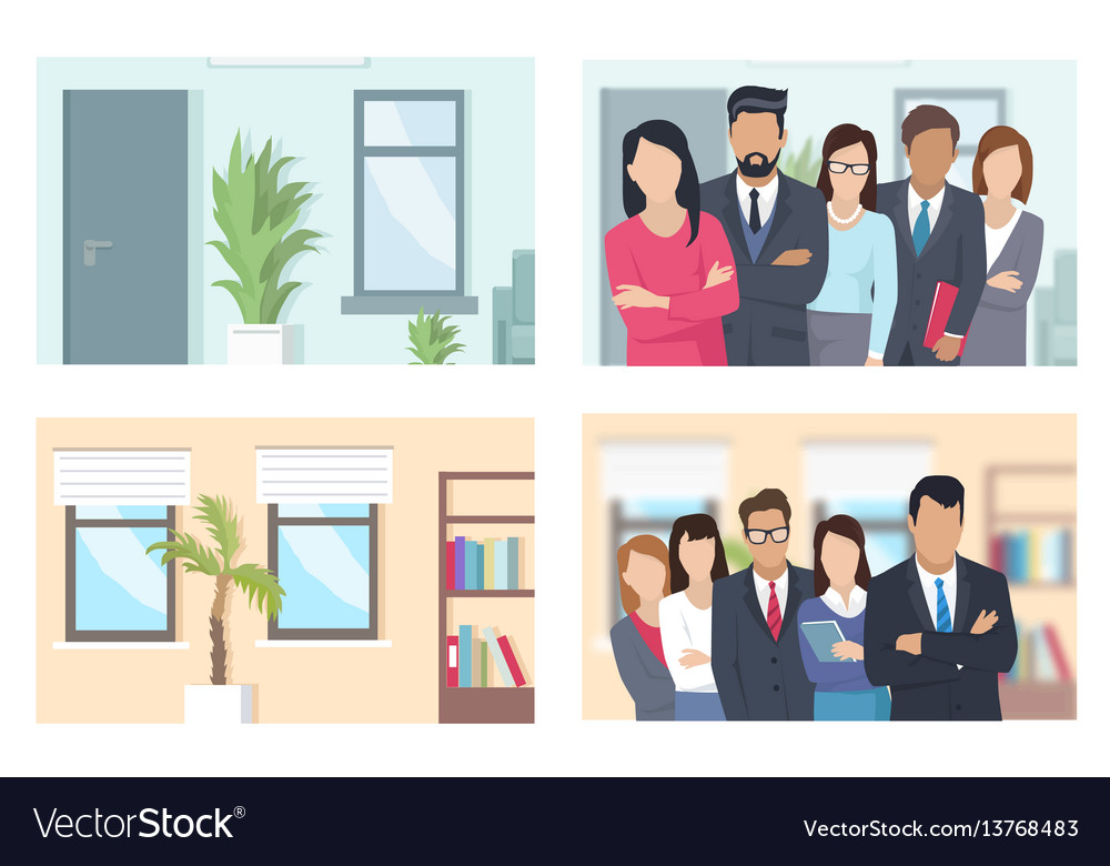 Business people and offices set vector image