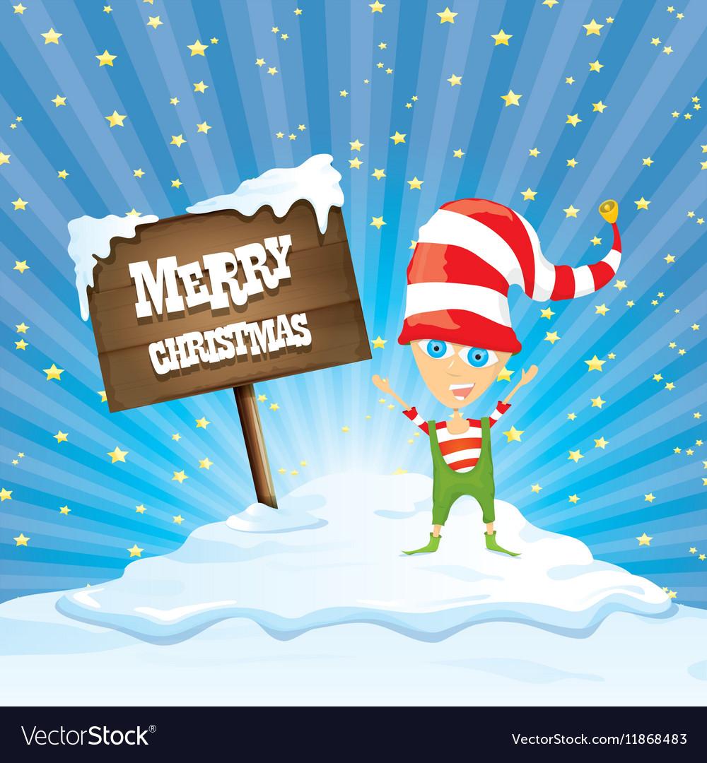 Cartoon merry Christmas elf on north pole Vector Image
