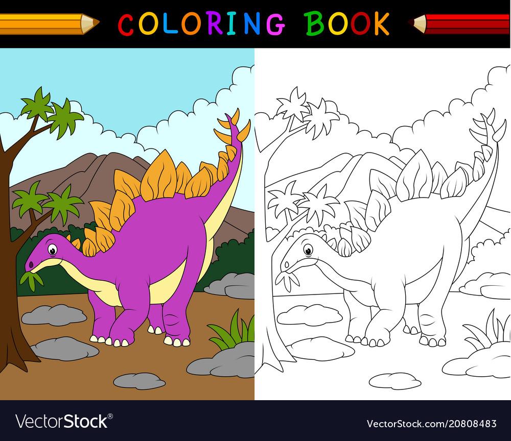 Cartoon stegosaurus coloring book