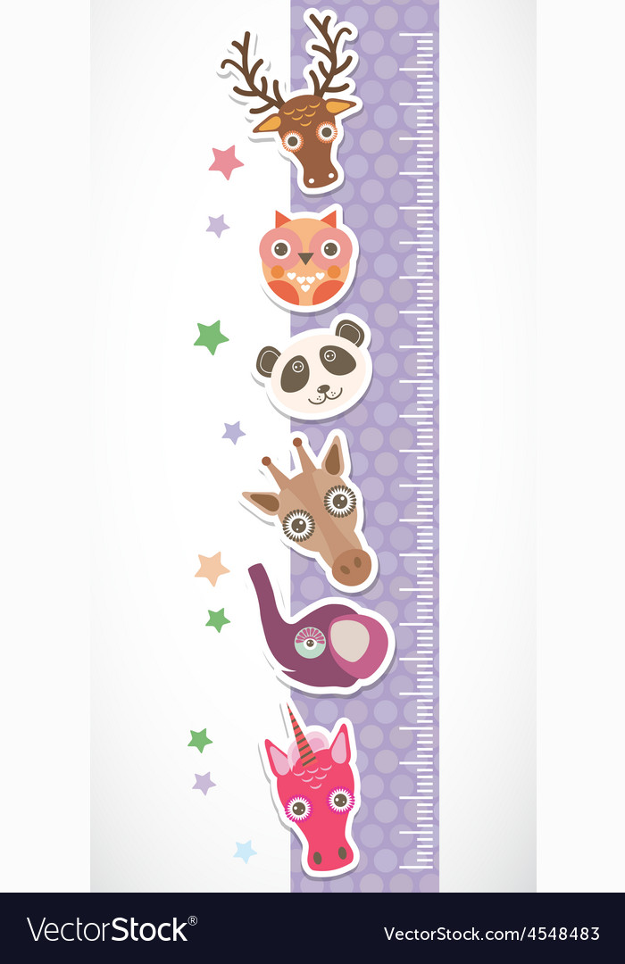 Children height meter wall sticker Set of funny