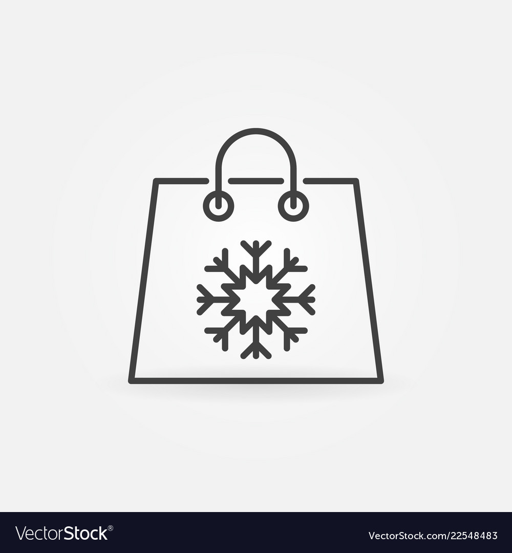 Christmas shopping paper bag icon in thin