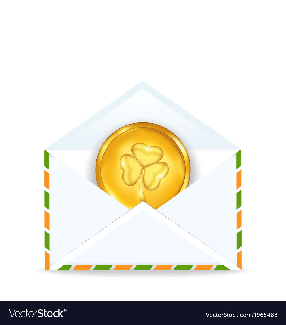 Envelope with golden coin for St Patricks Day