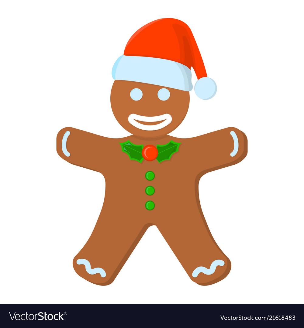 Gingerbread Man Xmas Isolated Icon Cartoon Style