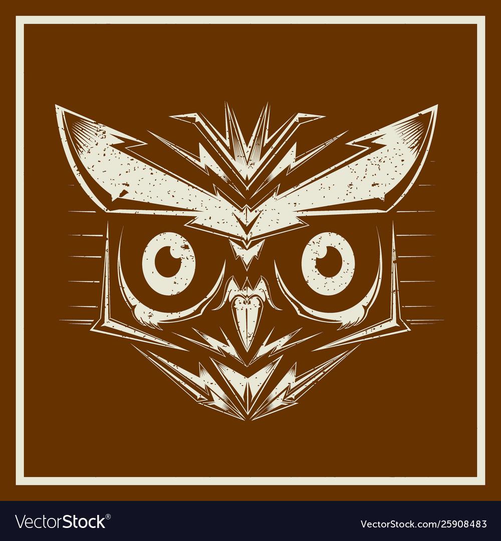 Grunge style owl bird heads showing different
