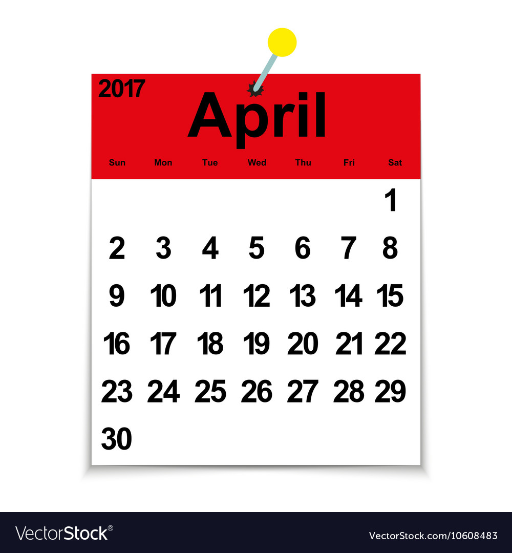 Leaf calendar 2017 with the month of April