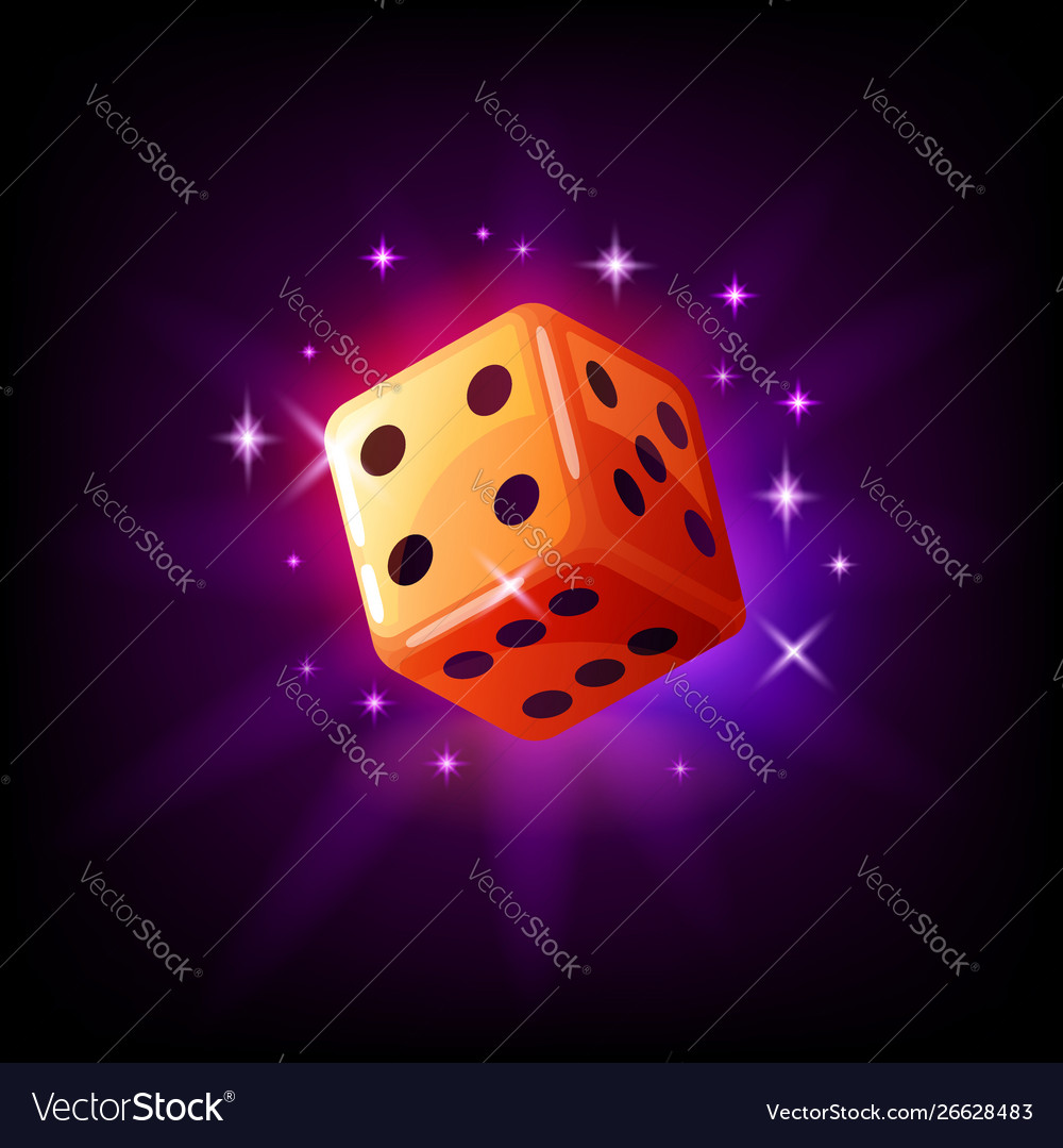 Orange game dice in flight with sparkles slot icon