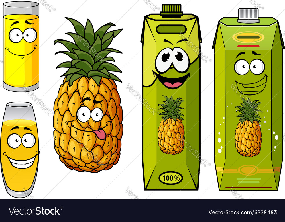 Pineapple juice packs fruit and glasses
