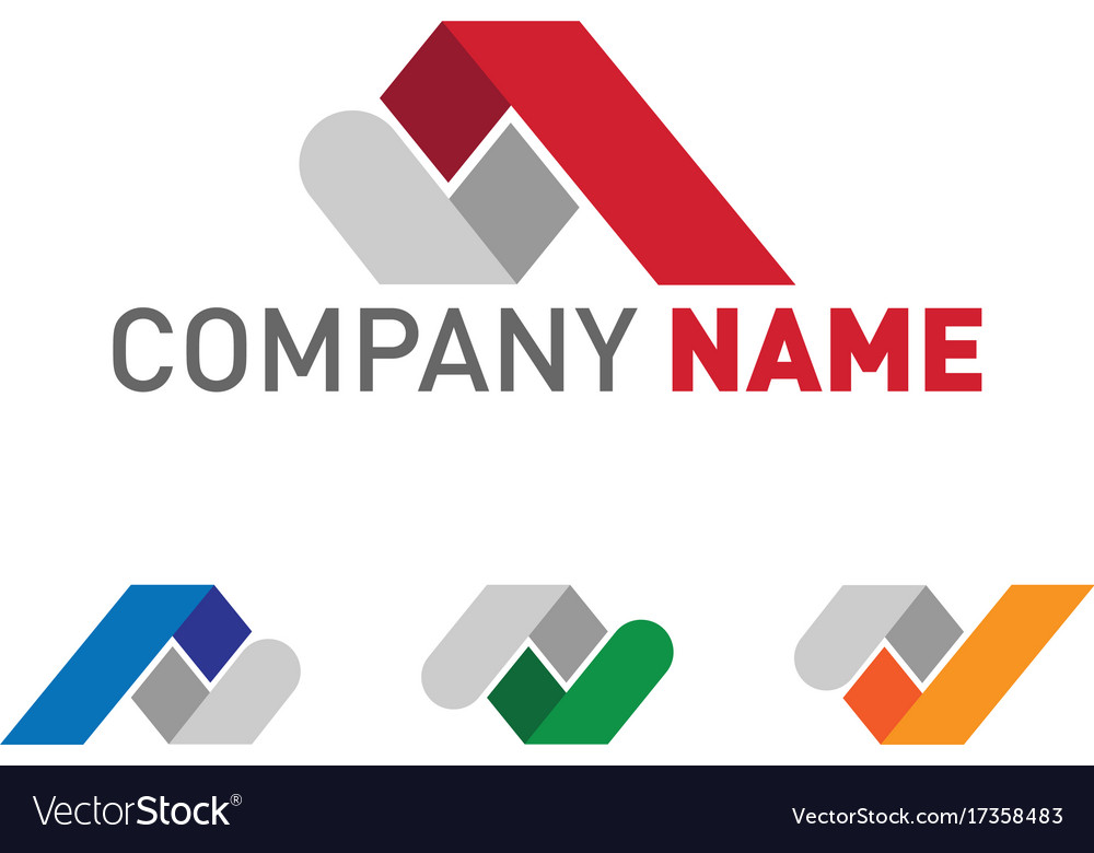 Real estate and construction roof logo set