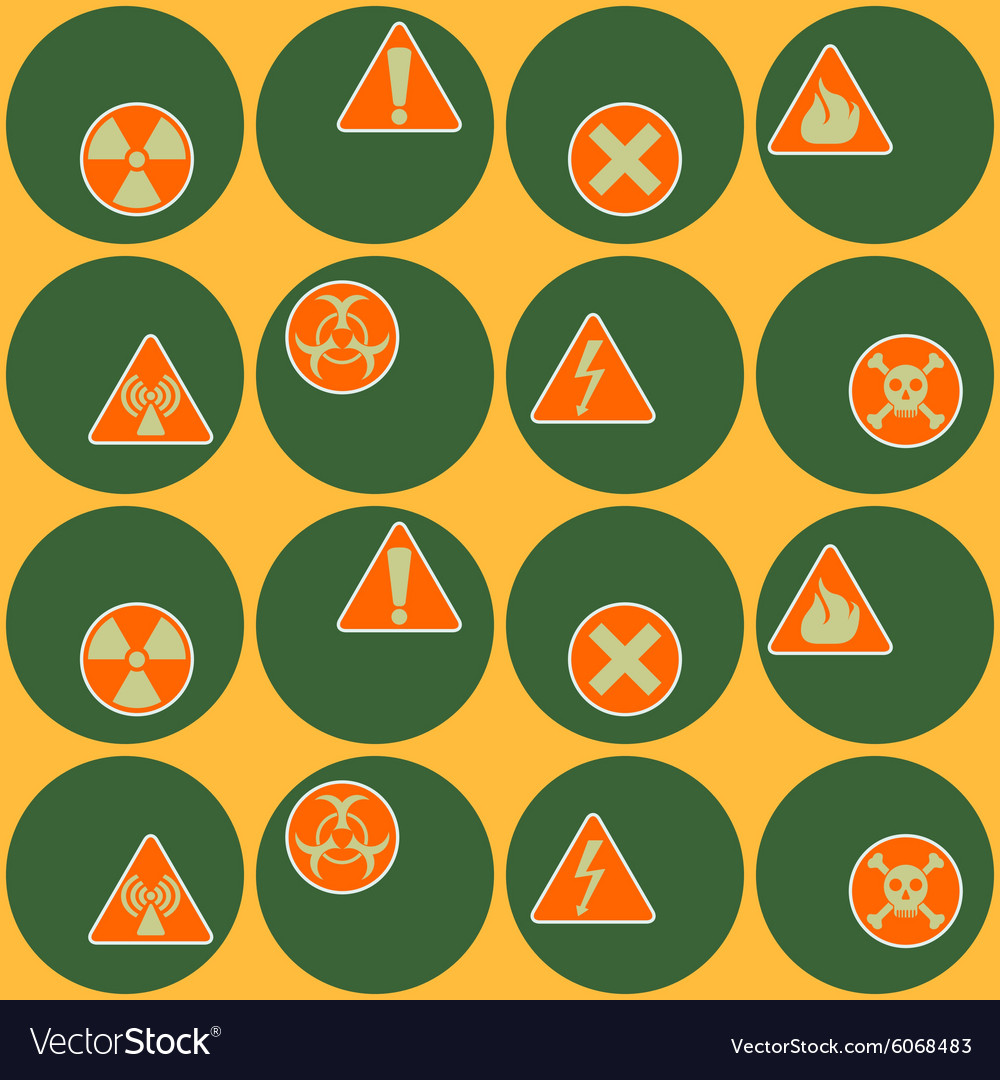 Seamless geometrical background with warning signs
