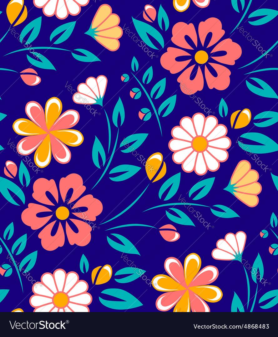 Seamless spring flower pattern on blue background