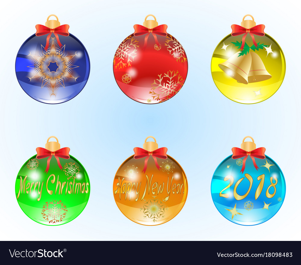 Set of six christmas balls