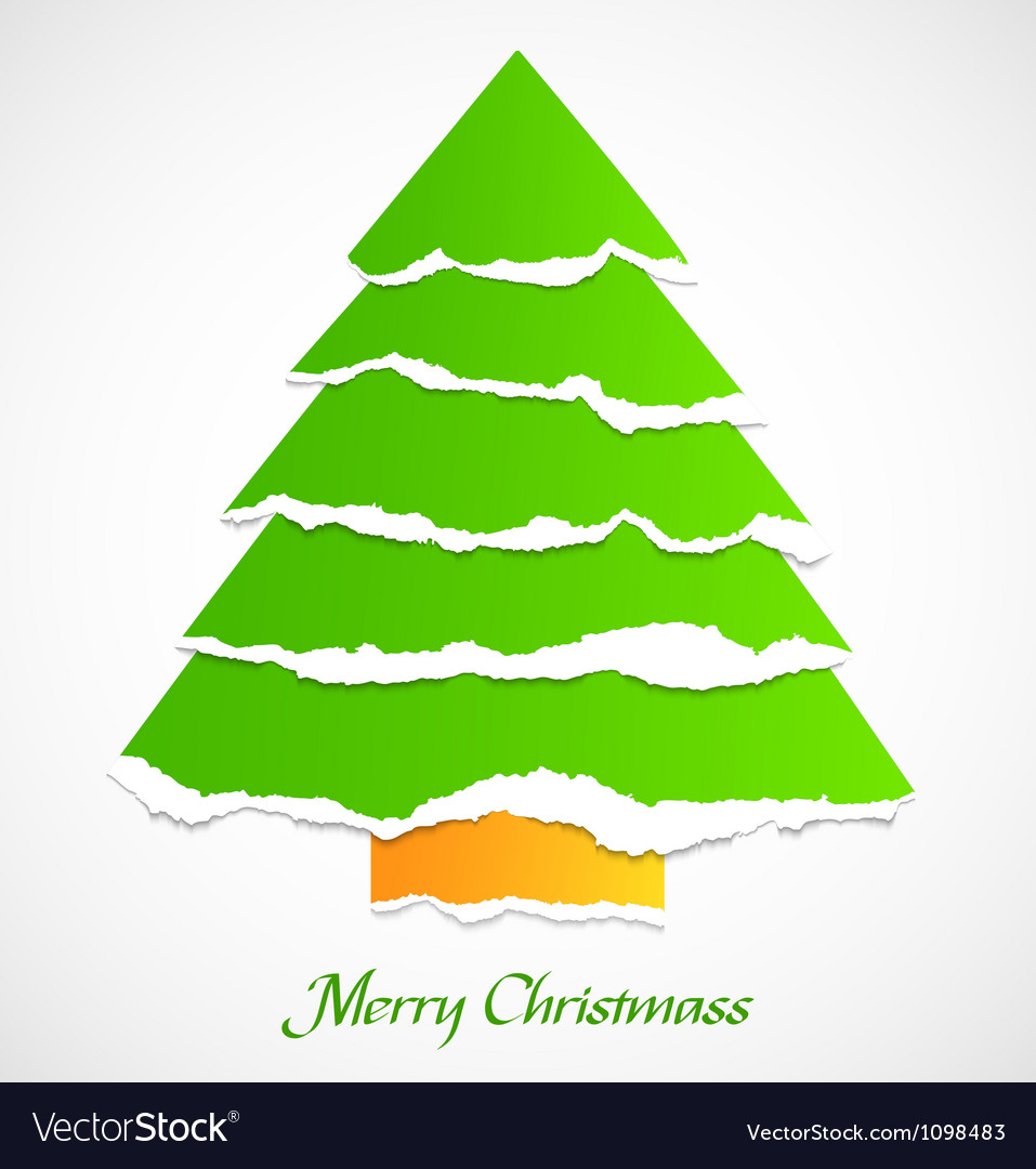 Torn paper green christmas tree vector image