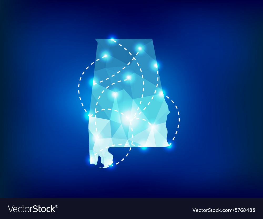 Alabama state map polygonal with spot lights