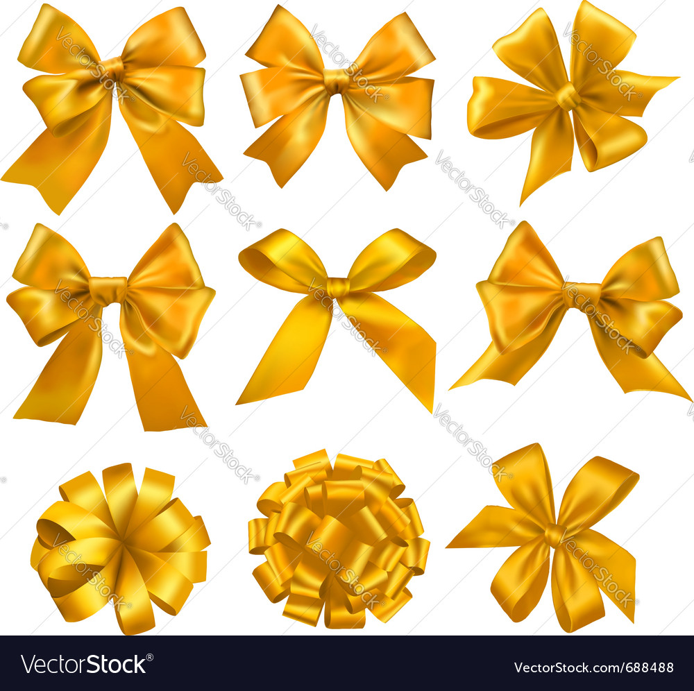 Big set of gold gift bows with ribbons royalty free vector big set of gold gift bows with ribbons vector image negle Gallery