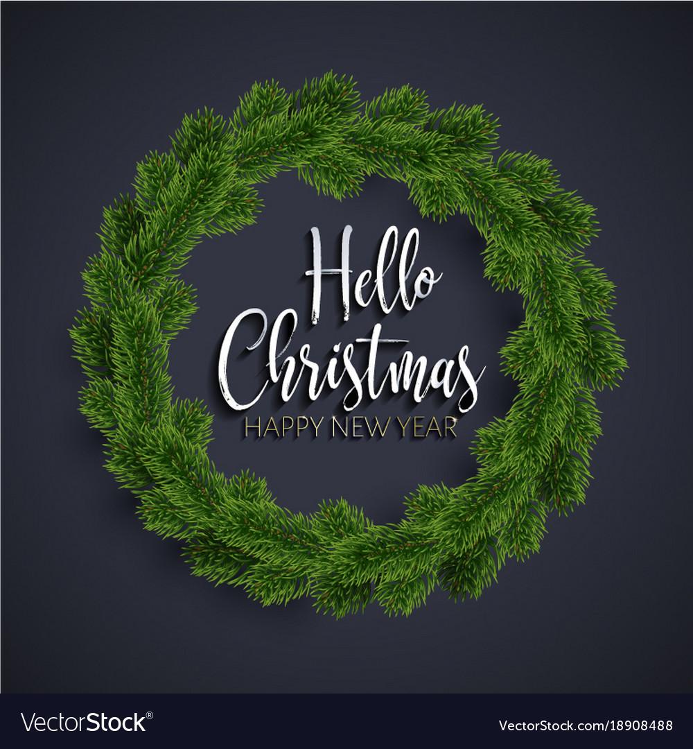 Christmas fir-tree wreath on black background