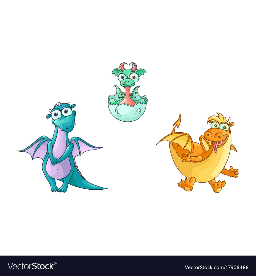 Flat cartoon dragons with horns wings set