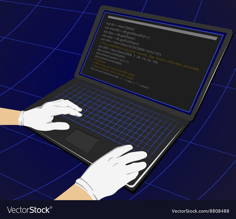 Hacker writing programming code on laptop
