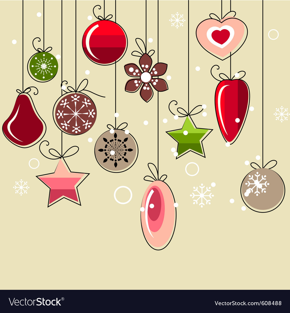 hanging christmas decorations vector image - Hanging Christmas Decorations