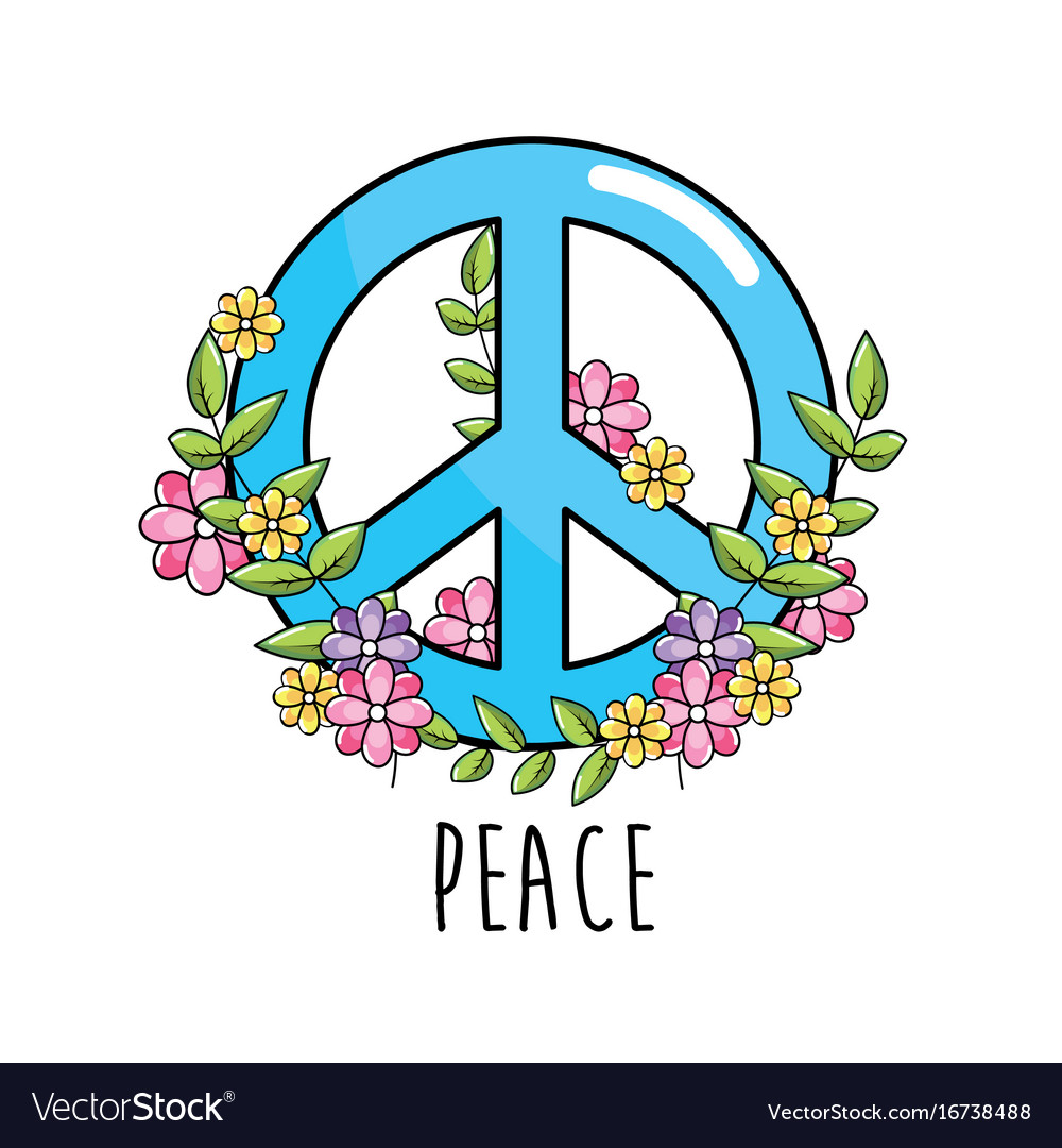 Hippie Emblem Symbol Of Peace And Love Royalty Free Vector