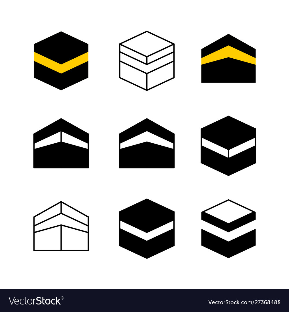 Kaaba in mecca city set icons simple style