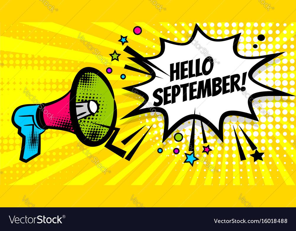 Megaphone pop hello september vector image