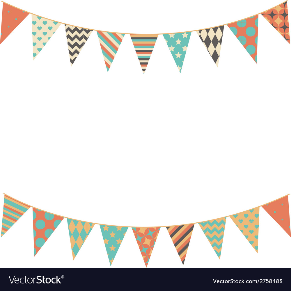 Party bunting background in flat style