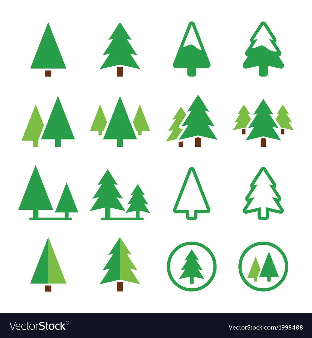 Pine tree park green icons set