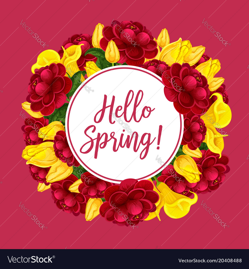 Spring flowers bouquets greeting card Royalty Free Vector