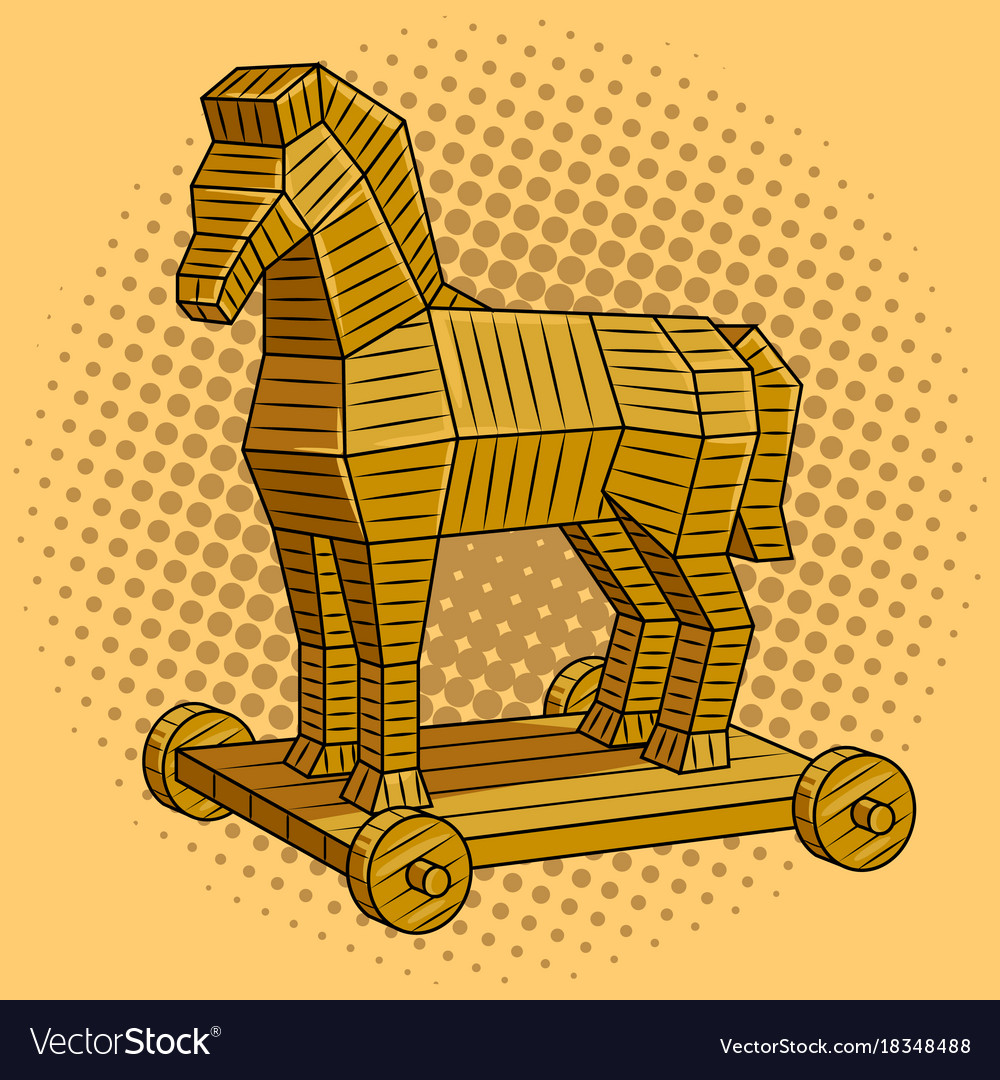 Trojan Horse Pop Art Royalty Free Vector Image