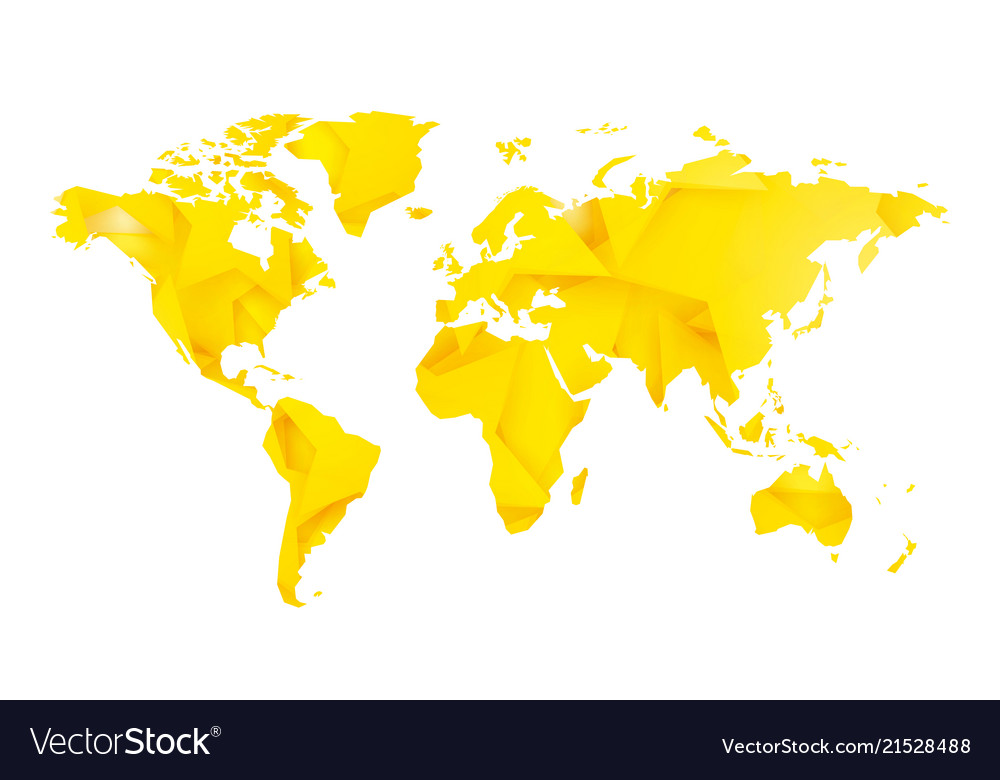 A Blank World Map.Yellow Star Blank World Map Royalty Free Vector Image
