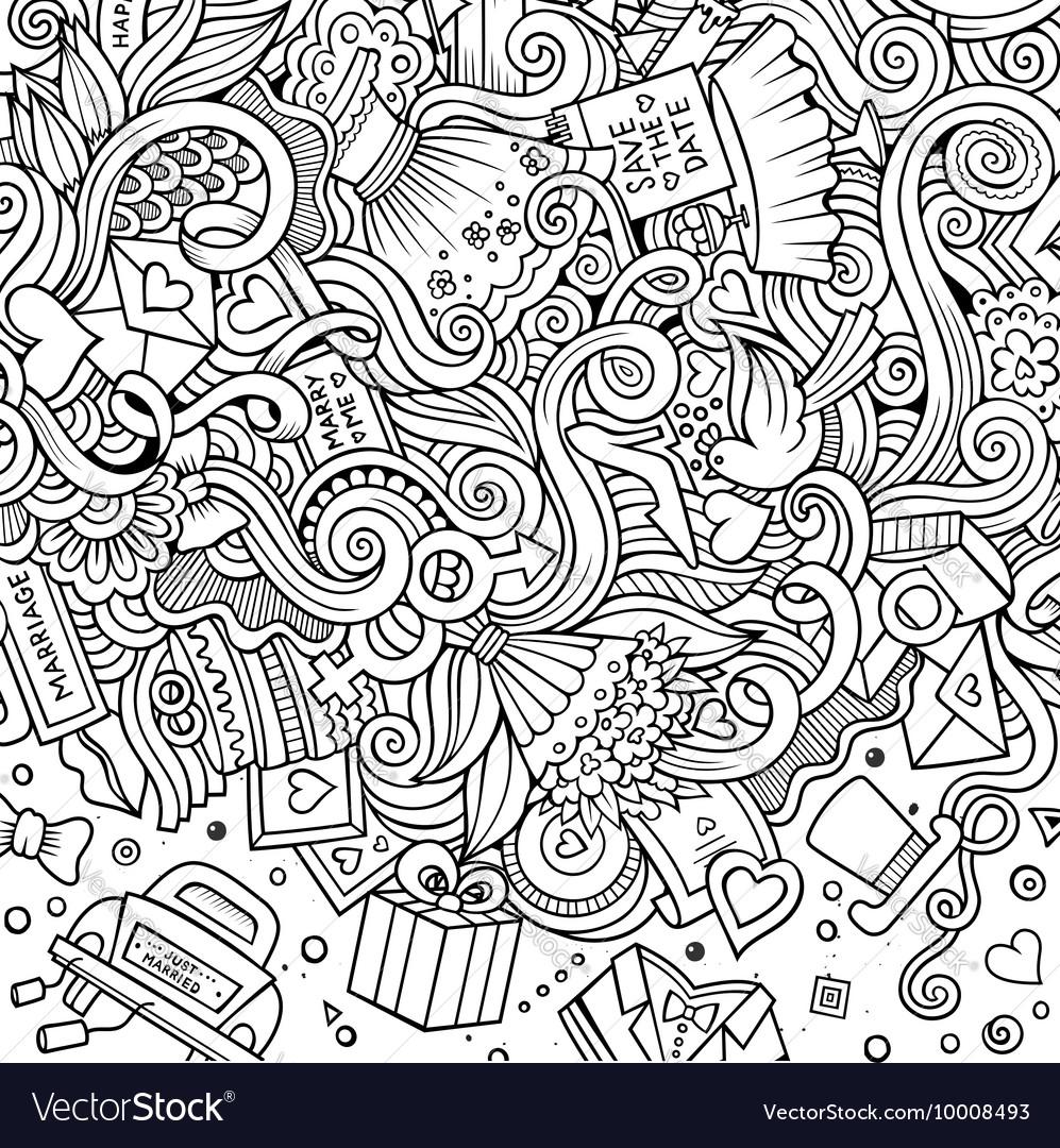 Cartoon cute doodles wedding frame vector image