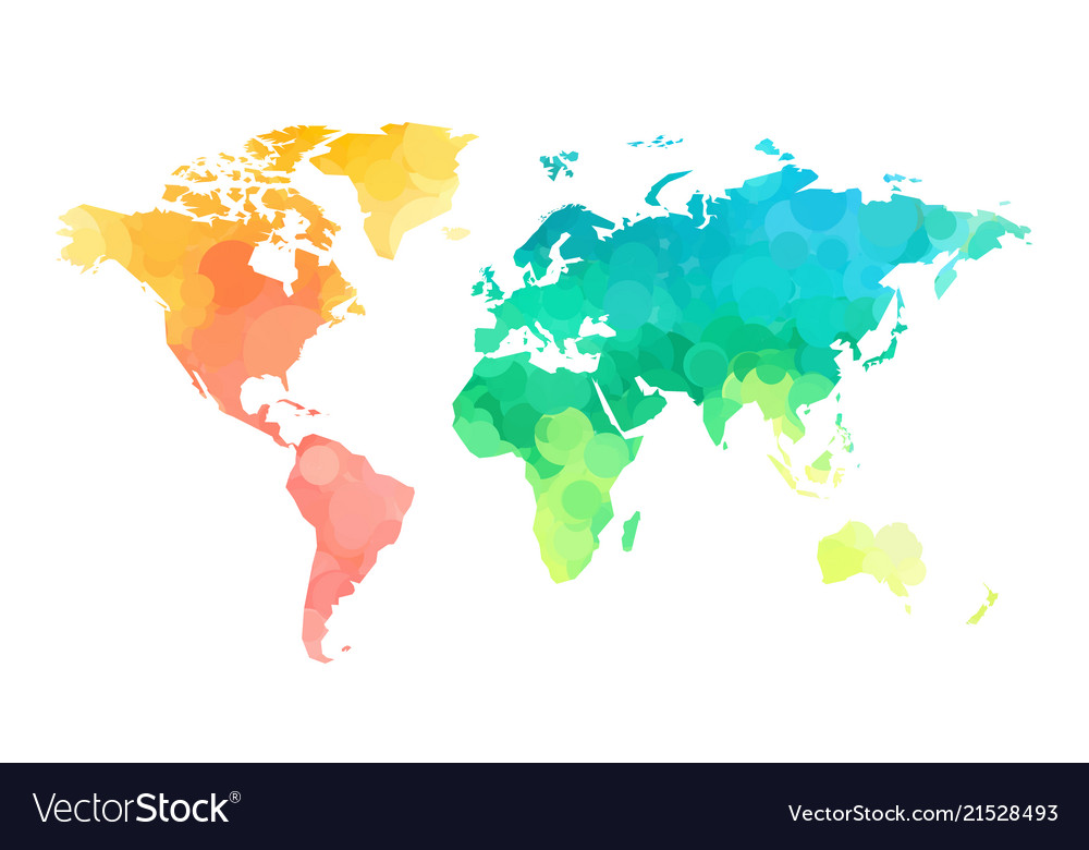 Free Map Of The World.Color Circles World Map Pattern