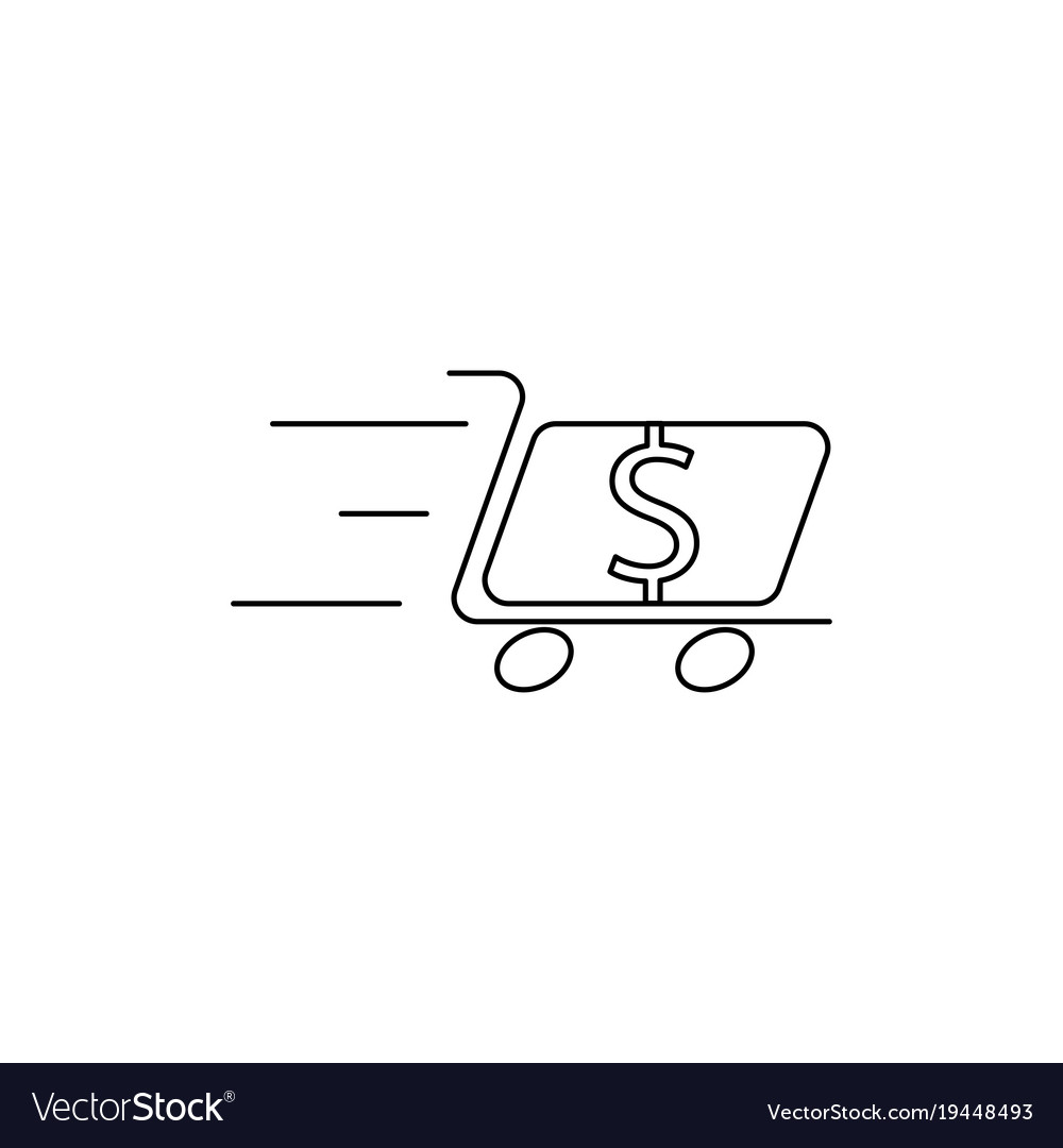 Dollar cart line icon