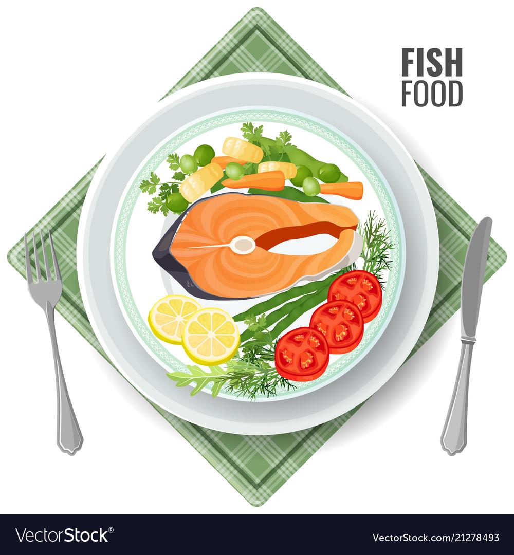 Fish food roasted salmon meat set