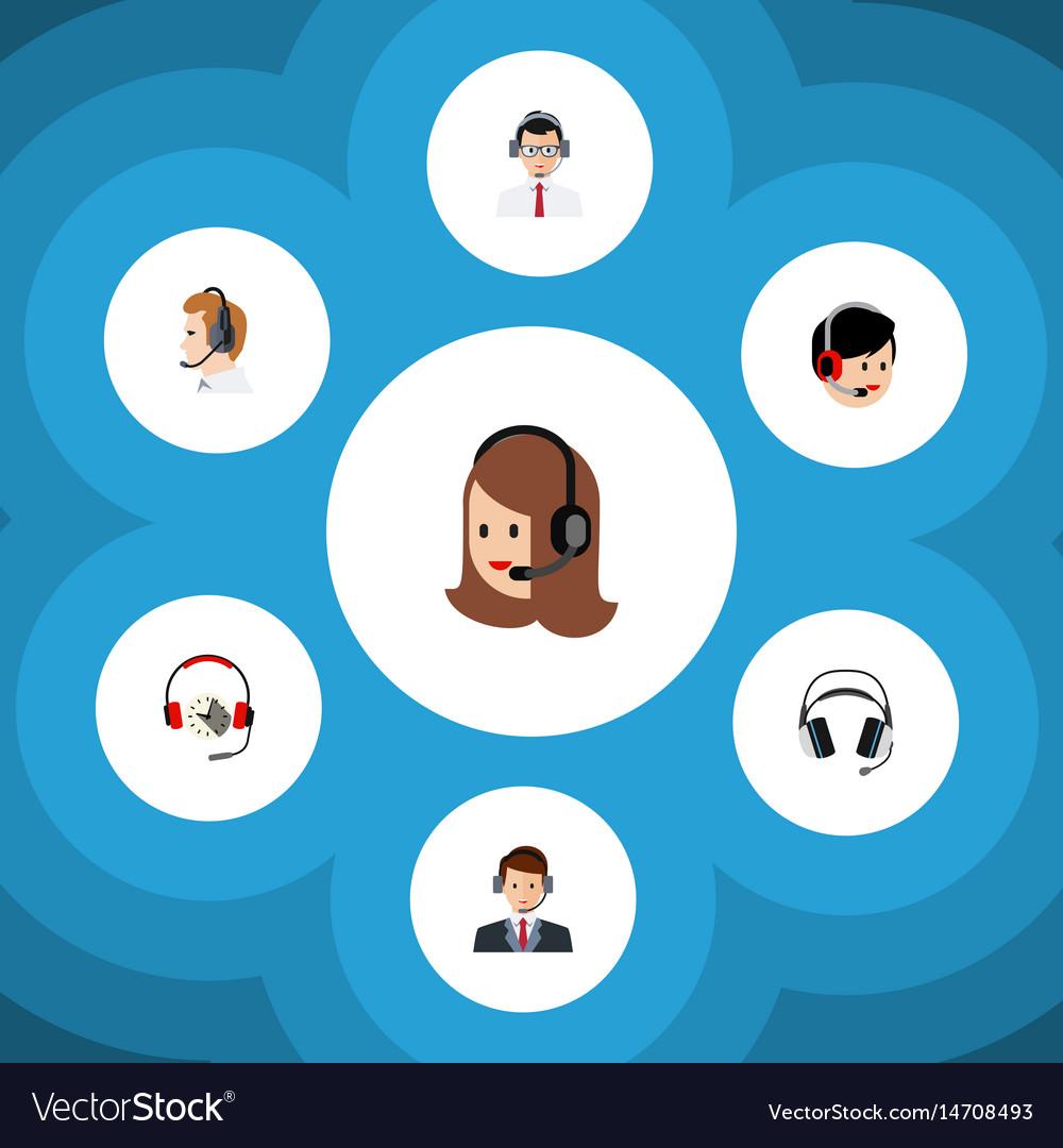 Flat telemarketing set of operator headphone vector image