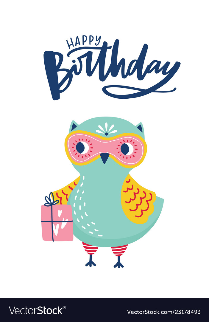 greeting card or postcard template with adorable vector image