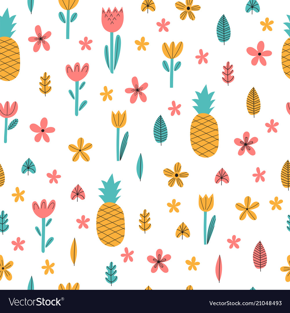 Hand drawn summer seamless pattern with flowers
