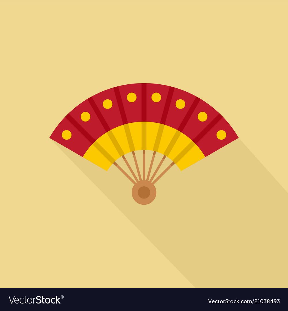Hand fan icon flat style