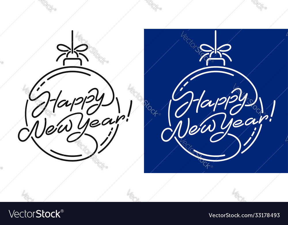 Happy new year artistic lettering line design