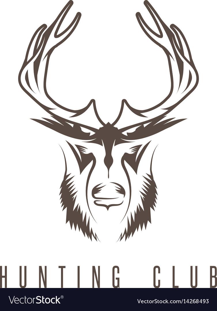 hunting vintage emblem design template with deer vector image