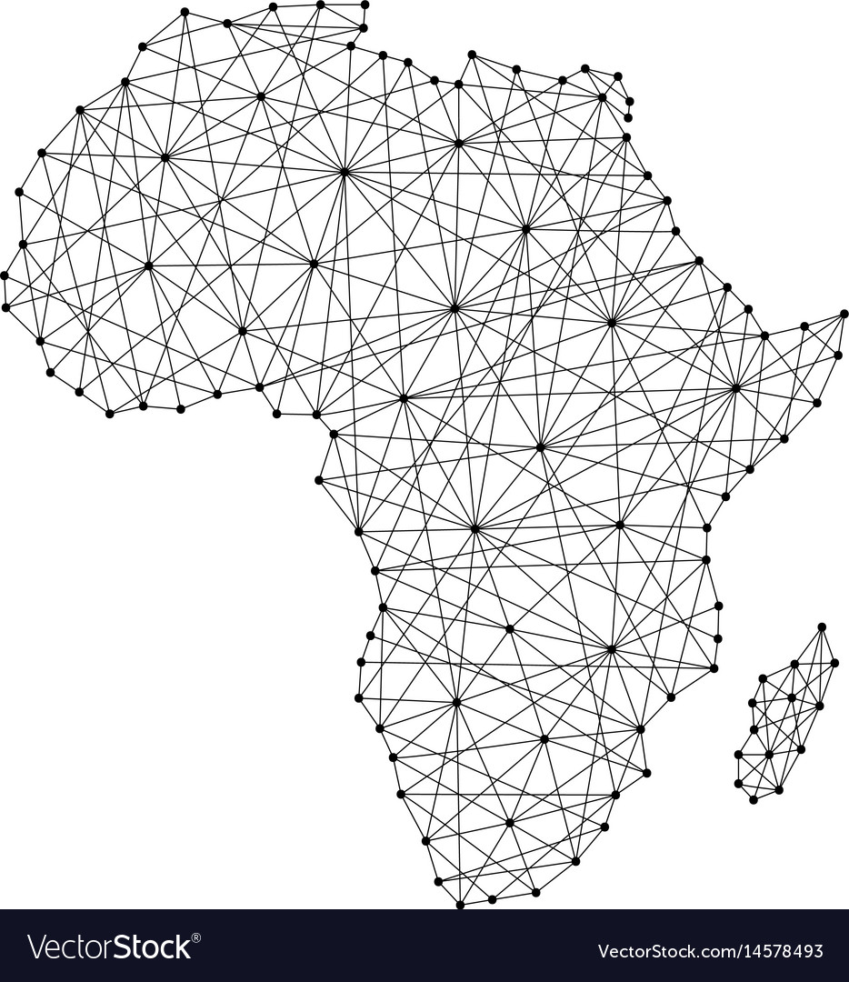 Map of africa from polygonal black lines vector image
