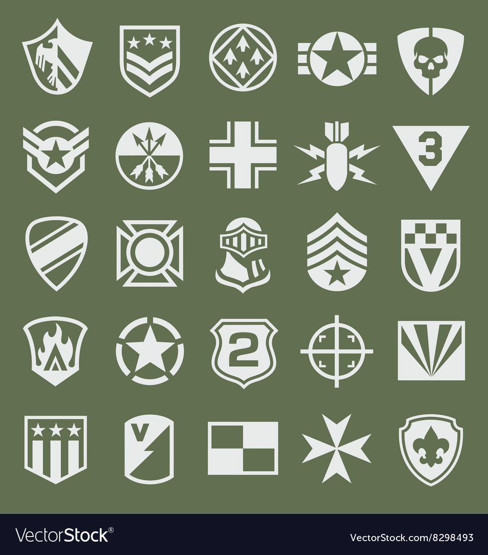 Military icons symbol set on green