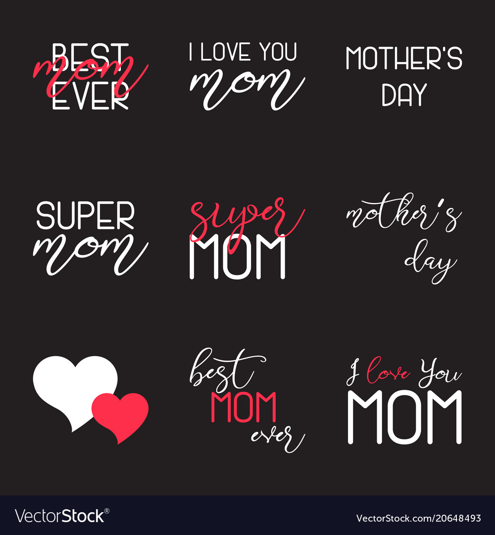 Mothers day lettering calligraphic emblems set