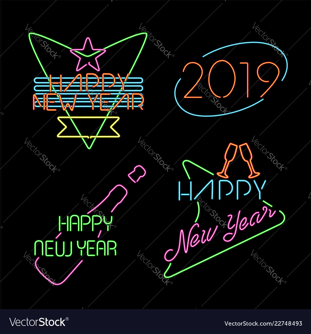 New year neon light set label retro 2019 elements