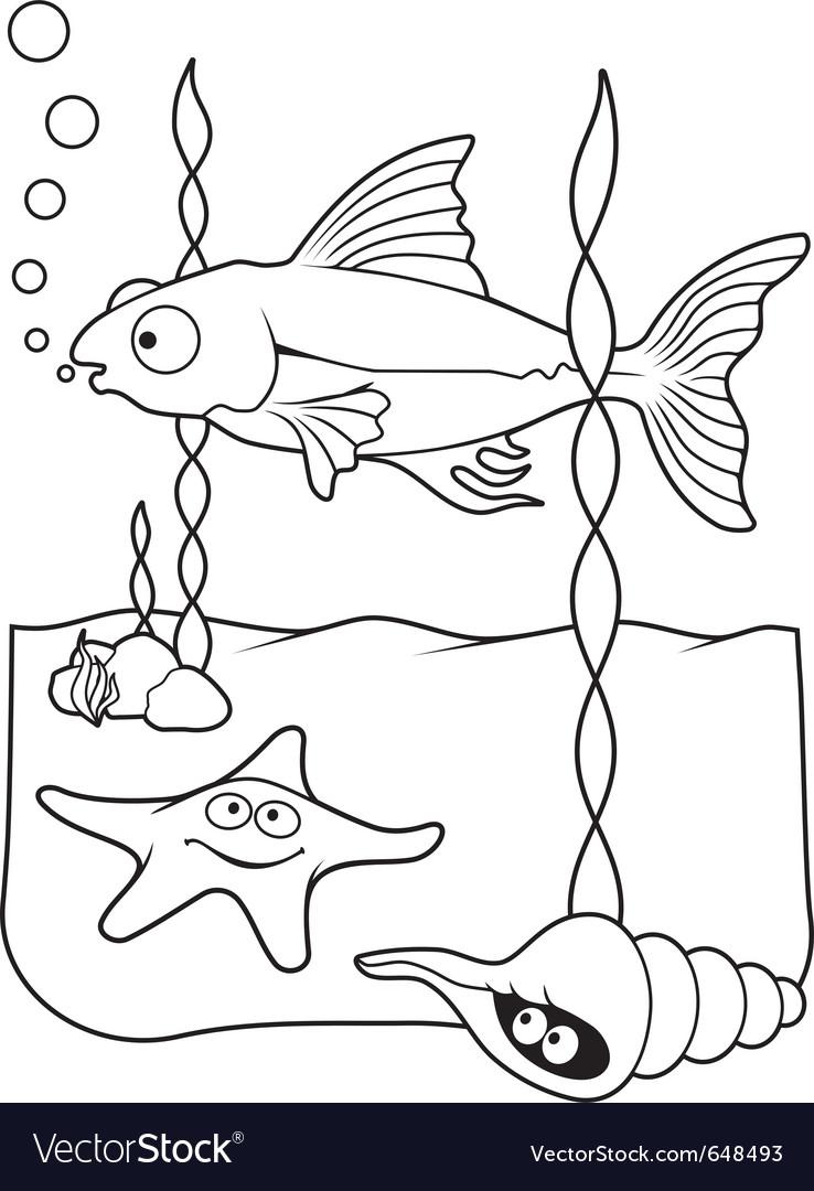 Sea life coloring book Royalty Free Vector Image