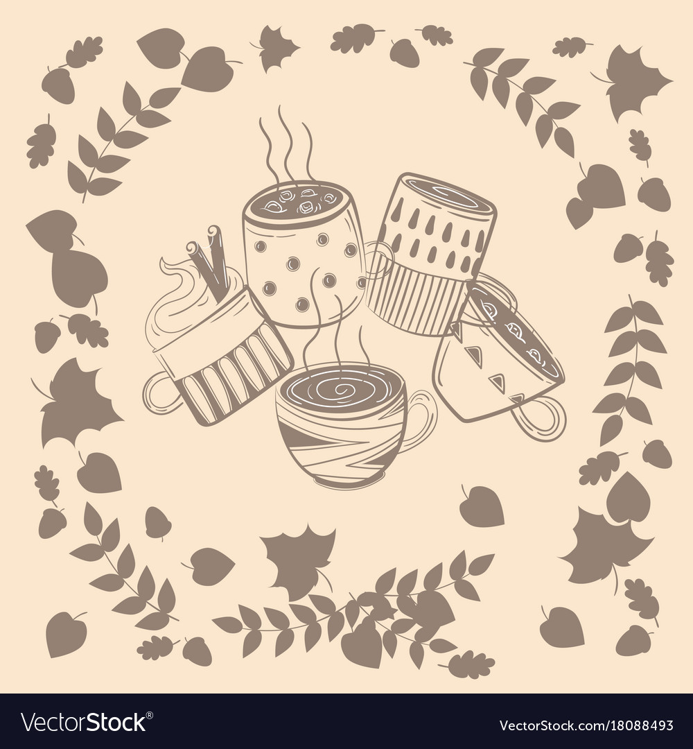 998cb6ca52d Set of different coffee cups in autumn leaves Vector Image