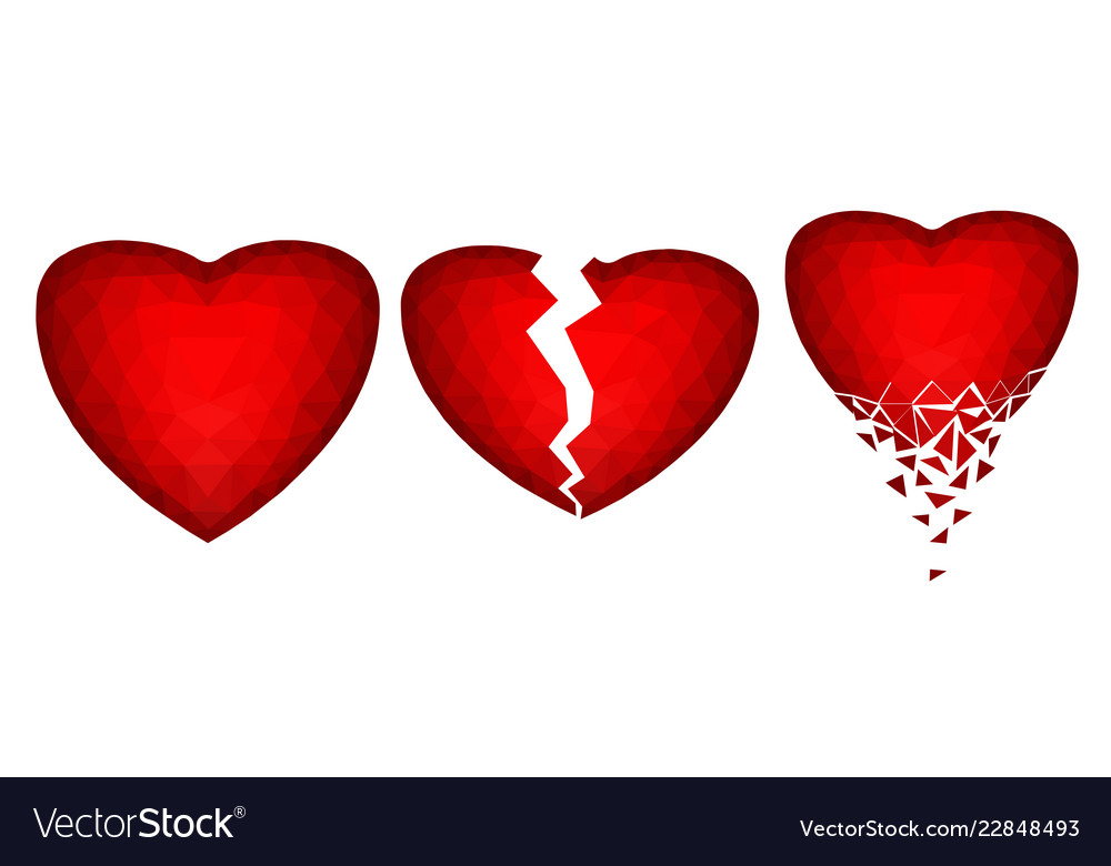 Set of three abstract polygonal images of hearts