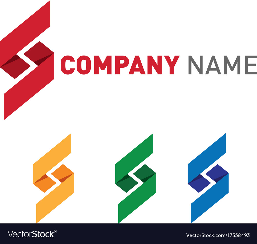 Shape letters logos set in variety of colors